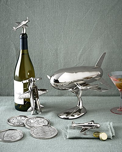 Le'raze Airplane Cocktail Shaker, Premium 24 Ounce Bar Shaker With Stand, Airplane Art Bar Drink Shaker, Aviation Bartender Mixer, Ideal For Flying Bartender, Pilot Gift, Chrome Airplane Decor by Le'raze (Image #4)