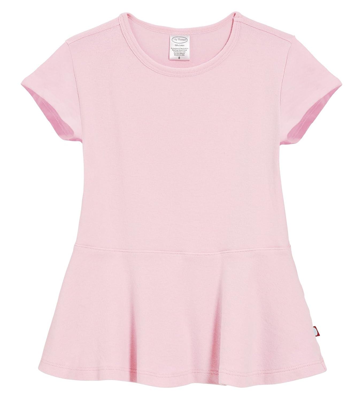 City Threads Big Girls' Cotton Short Sleeve Peplum Blouse Shirt School, Party CT-PEPLUM-SS-P
