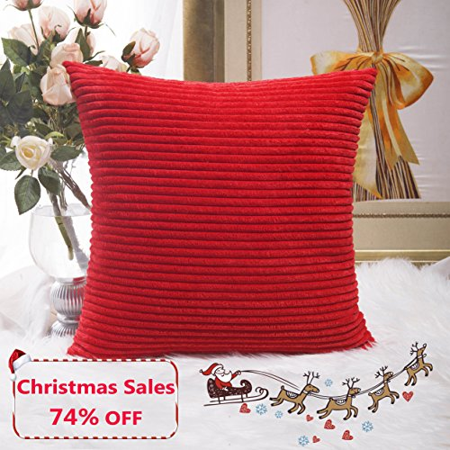 Home Brilliant Decoration Christmas Solid Red Soft Striped Velvet Corduroy Plush Throw Cushion Cover for Square Pillow (Red, 18 x 18 inch, 45cm) (Velvet Fabric Striped)