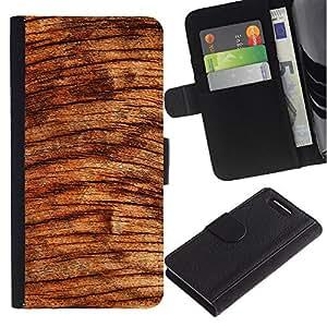 KingStore / Leather Etui en cuir / Sony Xperia Z3 Compact / ?rbol de madera Círculos Marrón Naturaleza Selva