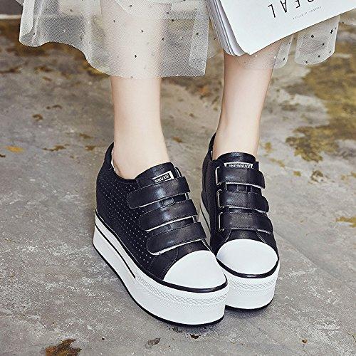 Chaussures Épais Souliers Bouffons Fond Creux des Femmes Summer Femme De HBDLH A Respirable Confort Le Chaussures pour Gâteau black Velcro L'Intérieur PSxwq0a7