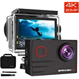 [2020 New]Apexcam EIS 4K 20MP WiFi Pro Action Camera 170° Wide-Angle Ultra HD Sports Camera External Mic Waterproof Underwater Camera With Remote Control Selfie Stick 2x1200mAh Rechargeable Batteries and Accessories Kits