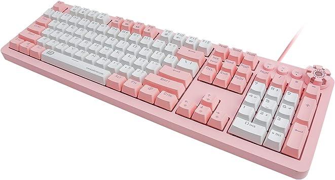 Teclado mecánico para juegos IK619, interruptores rojos, lineales, anti-fantasma (disposición de EE.UU.), teclado para gamer y tipista, rosa y blanco