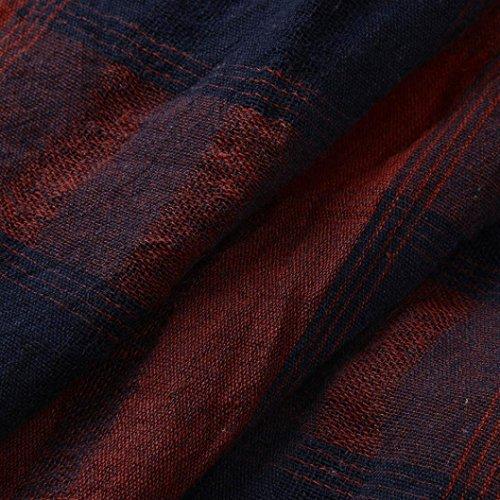 Dcontract Coton Haut Chauve en Col Femme Vest Lin Chemisier et Manches Automne Tops Rouge Chic Lady Blouse Shirt Carreaux Souris Lache T V Casual Loisirs zzPX7x