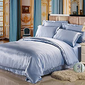 LILYSILK 4Pcs Silk Bedding Sheets Flat Sheet Fitted Sheet Oxford Pillowcases Set 19 Momme Pure Silk Light Blue Full