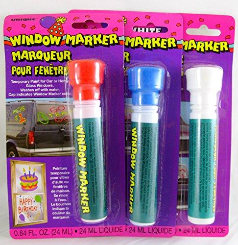 3 Pk, Unique Window Color Markers, .84 Fl. Oz (Red, Blue, & White) by Unique Industries