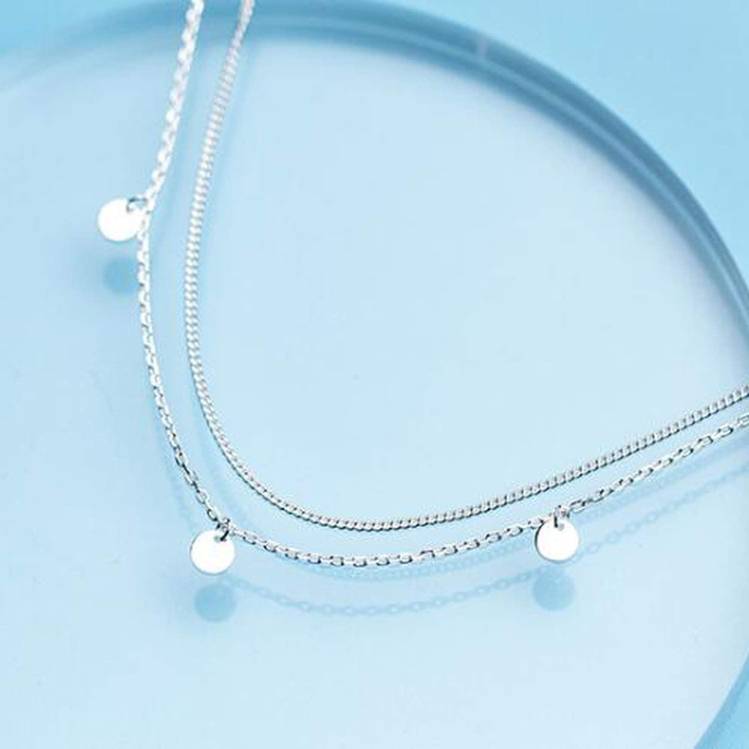 mybeautifulstore 1 1pc 925 Sterling Silver Jewelry Double Rows Geometric Round Coin Station Necklace Geometric