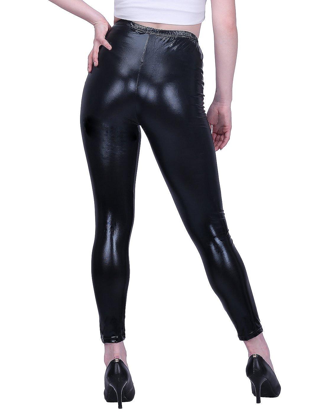 a85f2d0329 HDE Womens Shiny Metallic Leggings Liquid Wet Look Bottoms - Regular Plus  Sizes
