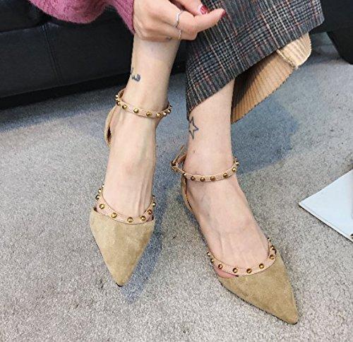 chiaro fibbia Marrone tacchi Da alti 36 Unico scarpe Sexy Cava Moda Una Sharp trentanove Rivetti Alla 5cm Donna Sandali parola di sola Ajunr Cava sottili Tacchi gxqYBag