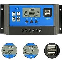 Controlador de carga de 60 A, controlador de carga de panel solar de 12 V/24 V Auto Parámetro ajustable con pantalla LCD Regulador de energía solar con temporizador de carga dual USB