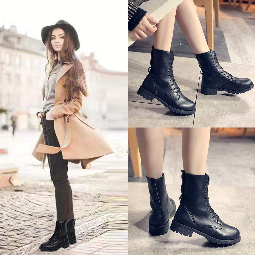 Botines para Mujer K-youth/® Moda Invierno Zapatos Antideslizante Casual Botas Martin