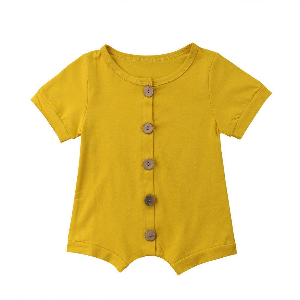 Oldeagle Newborn Baby Boys Girls Solid Button Romper Bodysuit Jumpsuit Casaul Baby Clothing (12M, Yellow)