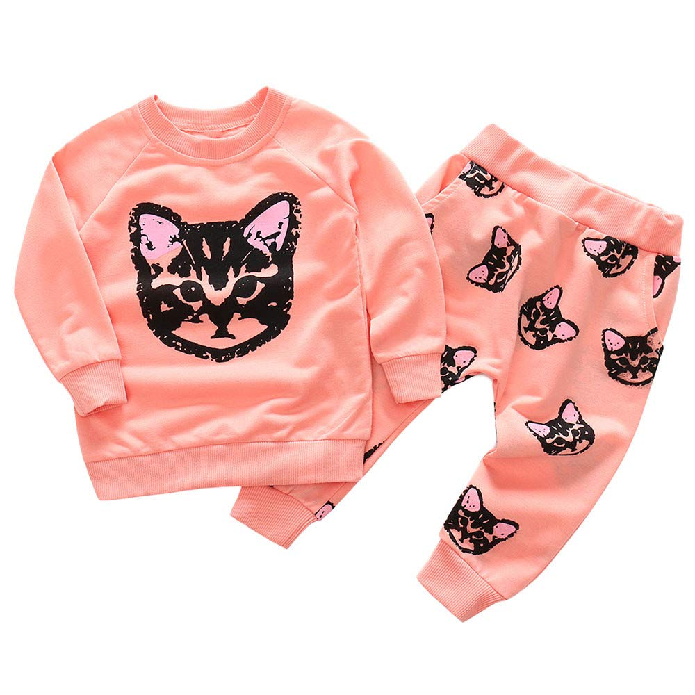 Kids Outfits Set MITIY Fall Winter Cotton Long Sleeve Cats Print Tracksuit Pants Toddler 2Y-6Y