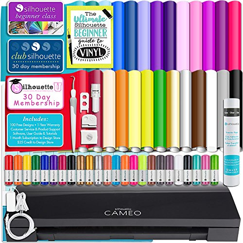Silhouette Cameo 3 Limited Black Edition Bluetooth Starter Bundle with 24 Oracal 651 Sheets, Transfer Paper, Guide, Class, 24 Sketch Pens (24 sheets) by Silhouette America