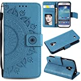 Galaxy S4 Mini Floral Wallet Case,Galaxy S4 Mini Strap Flip Case,Leecase Embossed Totem Flower Design Pu Leather Bookstyle Stand Flip Case for Samsung Galaxy S4 Mini-Blue