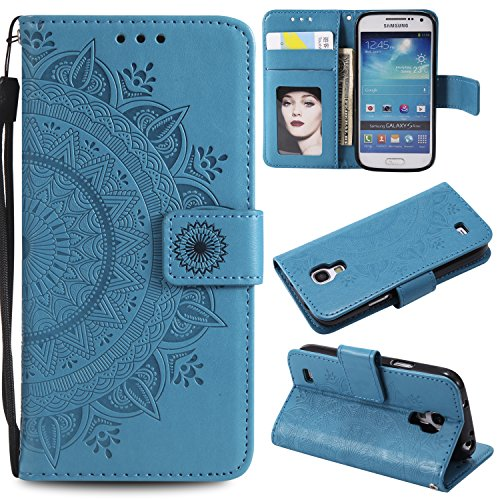 Galaxy S4 Mini Floral Wallet Case,Galaxy S4 Mini Strap Flip Case,Leecase Embossed Totem Flower Design Pu Leather Bookstyle Stand Flip Case for Samsung Galaxy S4 Mini-Blue by Leecase