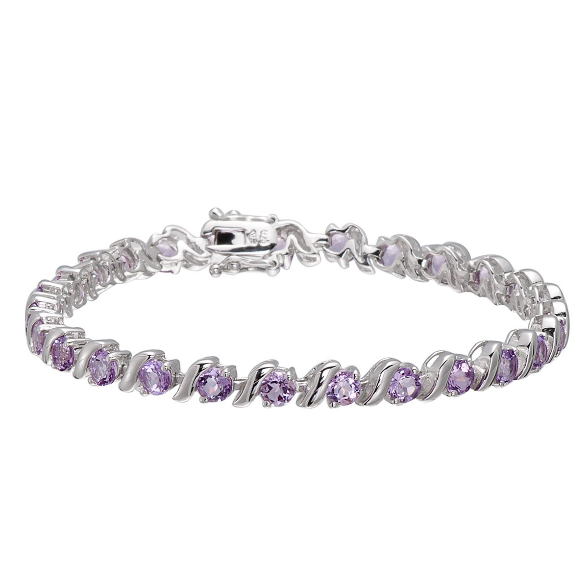 Round 4mm Genuine African Amethyst 6.34 Ct Sterling Silver ''S'' Link Bracelet 7.5 Inches by HUTANG JEWELRY (Image #2)