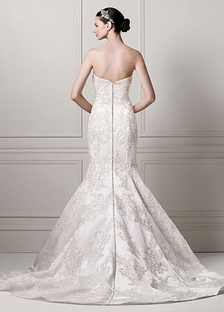 ec9f2dc76506 David's Bridal Sample: Petite Strapless Satin Trumpet Gown with Lace Style  AI19030127, Ivory. at Amazon Women's Clothing store: