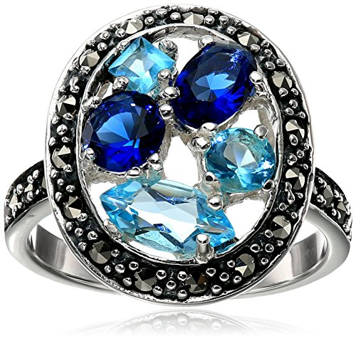 Sterling Silver Marcasite Light and Dark Blue Glass Ring, Size 7