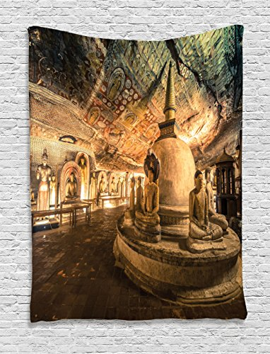 Cheap Ambesonne Home Decor Collection, Buddha Statues in Cave Temple with Colorful Decorative Ceiling Zen Peace Rocks Picture for Home, Bedroom Living Room Dorm Wall Hanging Tapestry, Multi
