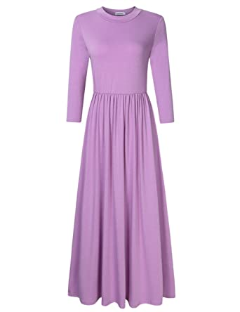 448e1f5eb Clearlove Women's Scoop Neck Long Sleeve Maxi Flare Midi Dress with Pockets Plus  Size Pink Purple