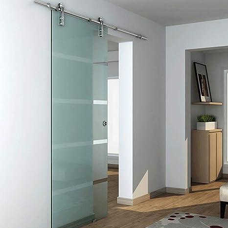 Herraje para Puerta Corredera Kit 5ft-13ft Riel colgante de acero inoxidable para puerta de vidrio - Kit de hardware completo, riel de puerta de granero deslizante Silenciador de doble eje con pista
