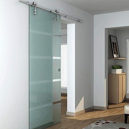 Herraje para Puerta Corredera Kit 5ft-13ft Riel colgante de acero inoxidable para puerta de vidrio -