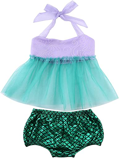 Shorts 2pcs Clothes Dress Set Flower Tiger Toddler Baby Girls Mermaid Summer Suit Tulle Tops