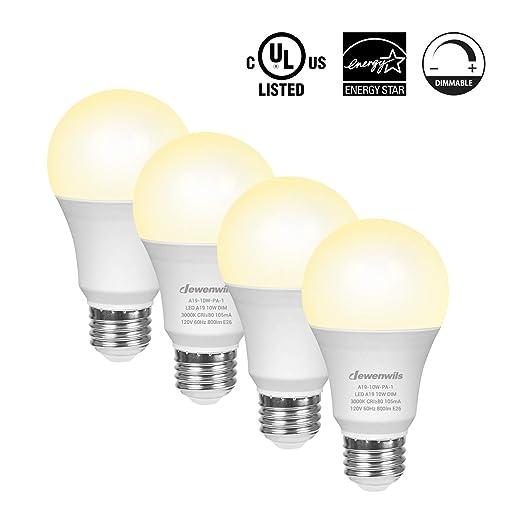 Amazon.com: Dewenwils - Paquete de 4 bombillas LED A19 ...