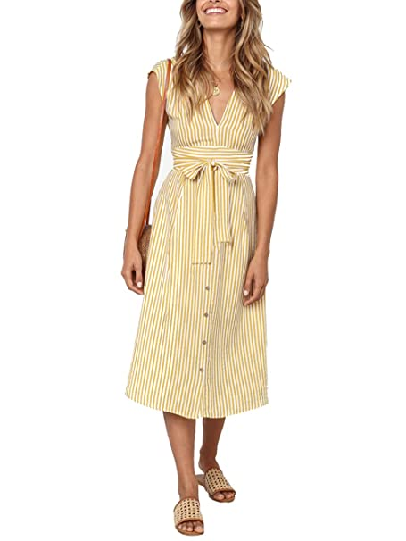 13dced1db5e Tkria Womens Striped Button Down Swing Midi Dresses Bohemian Solid V-Neck  Tie Waist