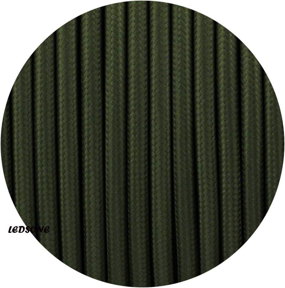 color verde militar trenzado l/ámpara de iluminaci/ón de tela Flex Vintage Cable retro redondo de 3 n/úcleos
