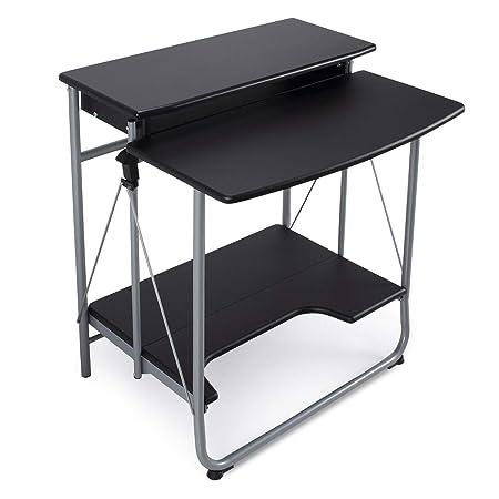 Belleze Modern Folding Computer Desk Portable Workstation Keyboard Tray and Bottom Shelf Foldable, Black