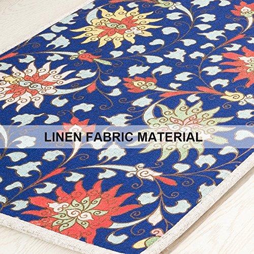 MR FANTASY Non Slip Floor Kitchen Mat Accent Area Rug Runner Comfort Mat Doormat Asorbent Chinese Flower Pattern Blue 18''X47''