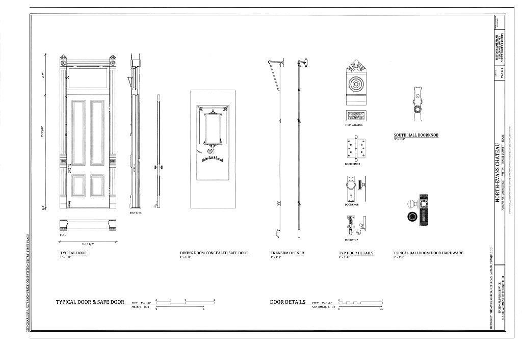 Amazon com: historic pictoric Blueprint Diagram Typical Door & Safe