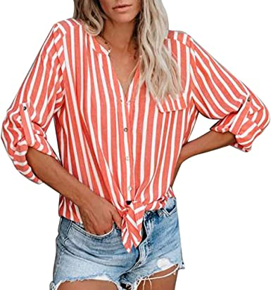 Women Striped Roll Up Long Sleeve Tie Knot Front Button Down Shirt Tops Blouse U
