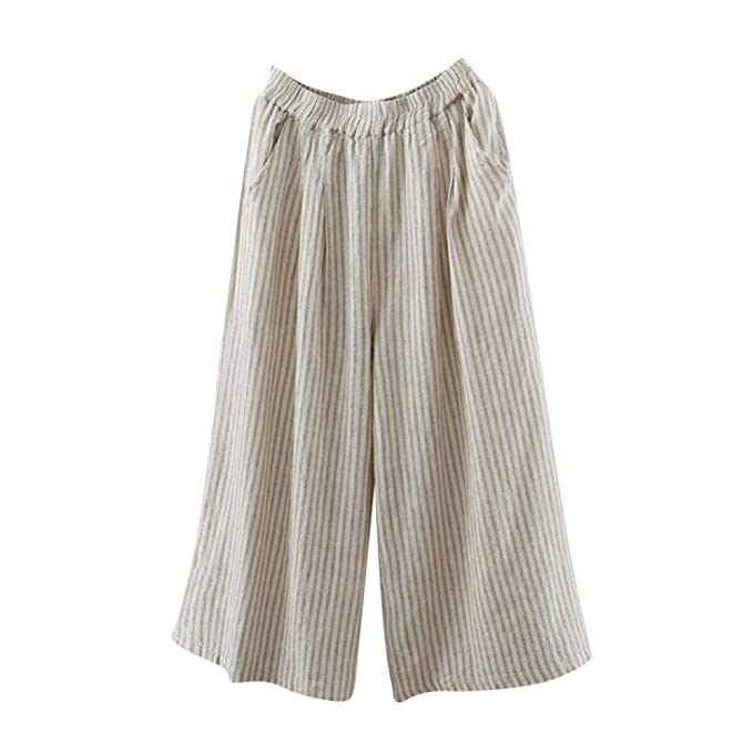 019091218a Pantalones de Lino para Mujer Otoño Invierno 2018 Moda PAOLIAN Casual Pantalones  de Vestir Cintura Alta Suelto Estampado Rayas Pantalones Palazzo Baggy ...
