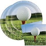 "Sports Fanatic Golf Party Bundle 9"" Plates (16) Lunch Napkins (18)"