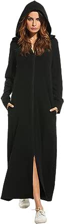 Zeagoo Womens Robe Zipper Front Full Length Soft Housecoat Hooded Loungewear with Pocket