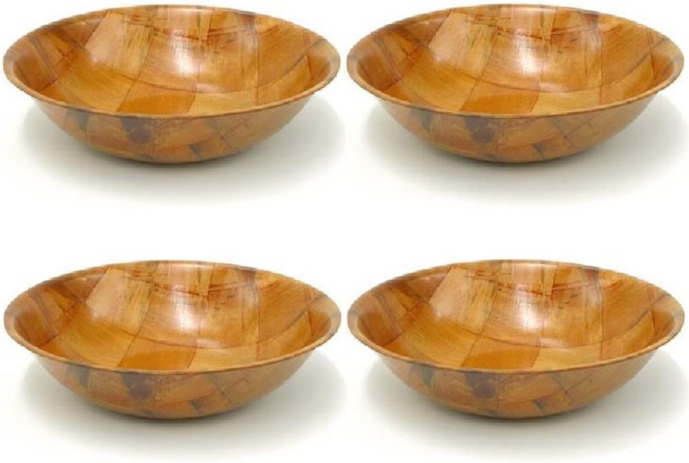 Winco WWB-10 Wooden Woven Salad Bowl, 10-Inch, Set of 4