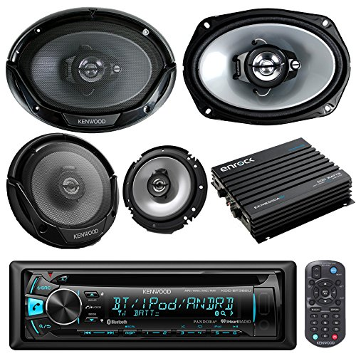 Kenwood KMMBT315U Car Receiver Bluetooth AM/FM Radio with 2 6x9 Inch and 2 6.5 Inch Speakers, 400 Watts Bluetooth Car/Marine Amp With 50 Ft Speaker Wire (With Amplifier)