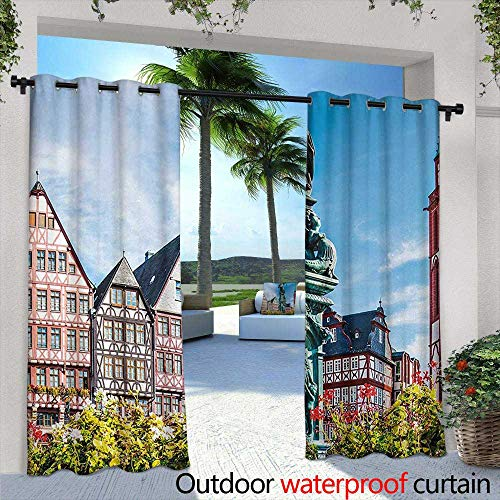 Tim1Beve Outdoor Window Curtains European Old City of Frankfurt Germany with Historical Buildings Statue Cityscape Scenery for Patio/Front Porch 108