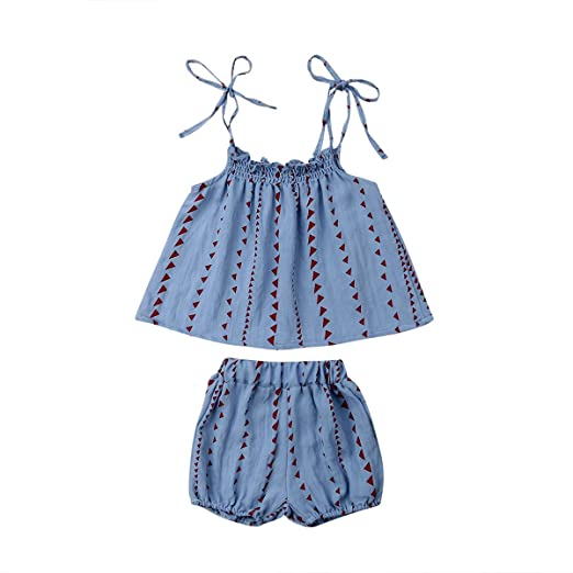 51879a688917 Amazon.com  Toddler Kids Baby Girl 2Pcs Summer Outfits Ruffled Vest ...