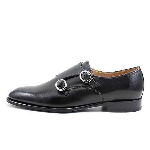 GIORGIO REA Zapatos para Hombre Negro Zapatos Hechos a Mano EN Italia, Hebilla, Abarcas, Mocasines, Hebillas, Elegante, de Alta Costura Brogue Oxfords: ...