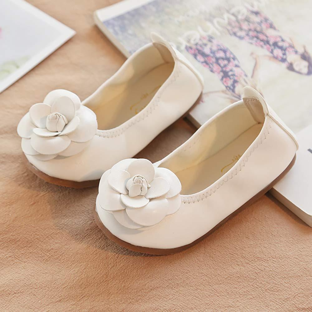 Toddler//Little Kid UBELLA Girls Flower Foldable School Uniform Slip On Ballet Flats Wedding Party Princess Dress Shoes