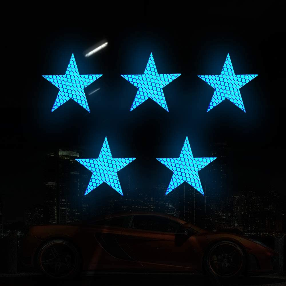 20x High Intensity Grade Reflective Safety Warning Tapes Stickers Self-Adhesive for Car Truck Motorcycle Bike Trailer Camper Helmet Fence Bags Star Shape Blue