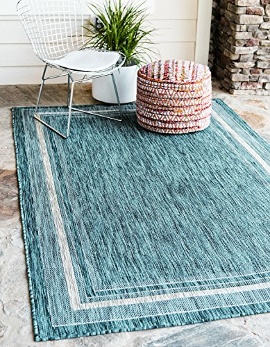 Unique Loom Hamptons Collection Casual Indoor and Outdoor Transitional Teal Home Décor Area Rug (8' x 11')