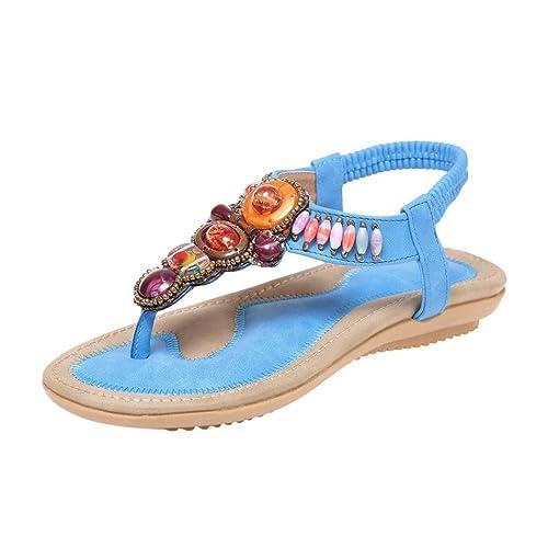 SANFASHION Große Förderung Damen Summer Bohemia Flower Beads Flip-Flop Schuhe Flache Sandalen (35, KhakiB)