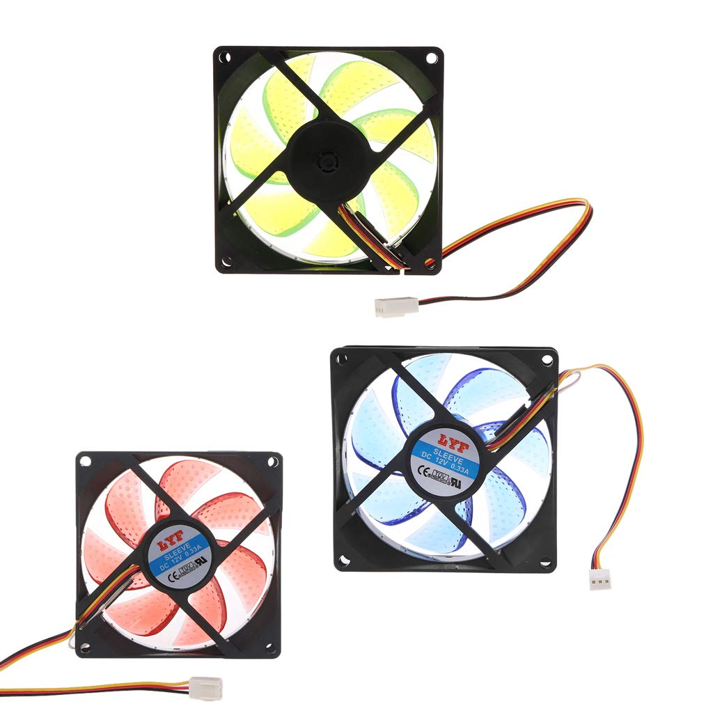 JUNESUN LED lumi/ère 3 Broches 90mm PC Ordinateur de Bureau Case Cooling Cooler Fan /à Faible Bruit 9025
