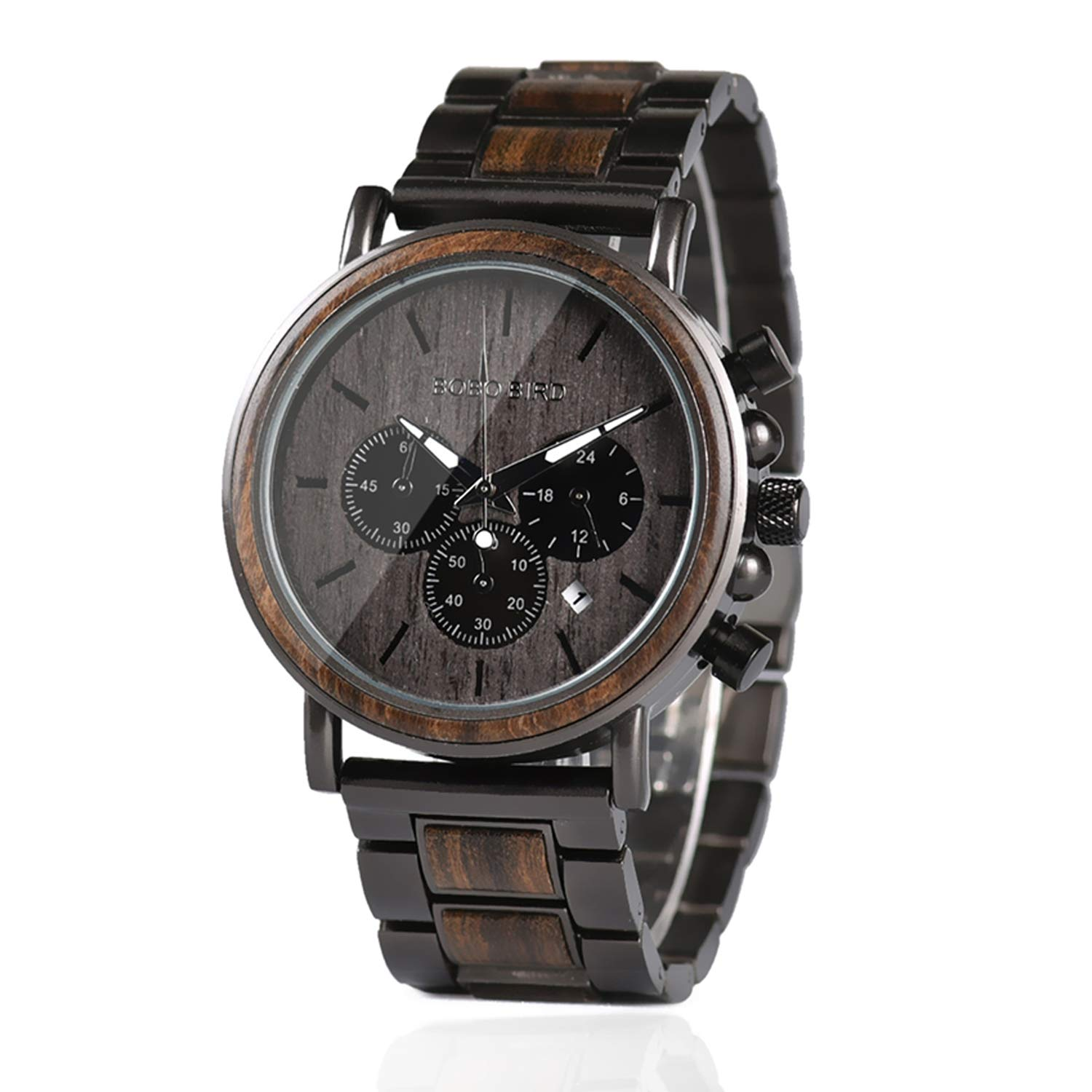 Mens Wooden Watches Business Casual Wristwatches Stylish Ebony Wood & Stainless Steel Combined Chronograph with Wooden Box (Grey)