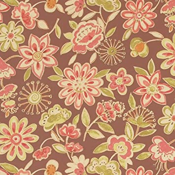 Amazon Com Fired Clay Brown Red Floral Novelty Print Pattern